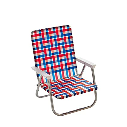 Remarkable Lawn Chair Usa Webbing Chair High Back Beach Chair Old Glory With White Arms Beutiful Home Inspiration Aditmahrainfo