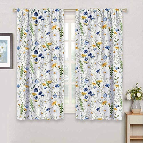 Reviewed: Floral Roses Decor Curtain Panels Poppies and Daisies Floral Printing Wild Flowers Watercolor Painting Soundproof Shade