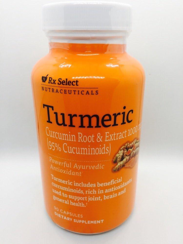 Rx Select Nutraceuticals Turmeric 95% Curcuminoids 1000 mg Supplement 90 Capsules