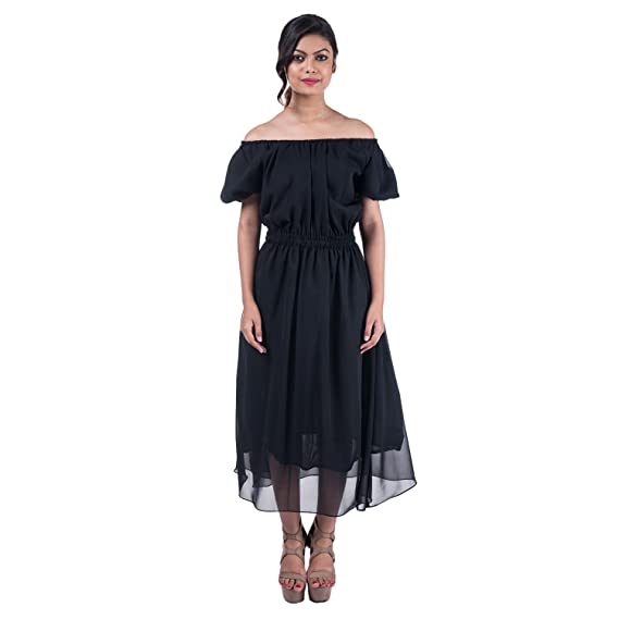 Mamosa Black Georgette Off Shoulder gown for latest design redymade ...