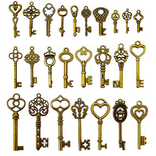 LolliBeads (TM) 2 Sets of Assorted Pewter Antiqued Brass Bronze Charms Pendants Victorian Filigree Heart Royal Key (50 ()