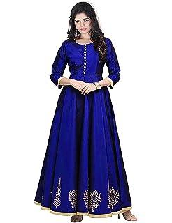285cd8e205 Divya Enterprise Women s Taffeta Silk Semi-stitched Floor Length Party Wear  Anarkali Gown