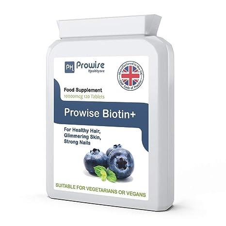 Biotin 10000mcg 120 Comprimidos - Suplemento de crecimiento de cabello Biotina - Máxima fuerza de apoyo