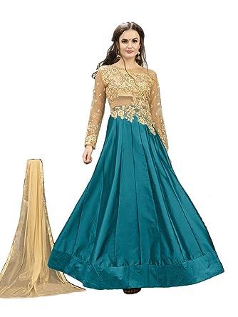 91df664f7a Amazon.com: EthnicWear Best Selling Blue Beige Party Festival Wear Art Silk  Floor Length Anarkali Suit: Clothing