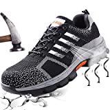 Steel Toe Shoes Safety Works Breathable Lightweight Industrial and Construction Hiking Boots Reflective Strip Puncture Proof Footwear Unisex Sneaker for Women Men