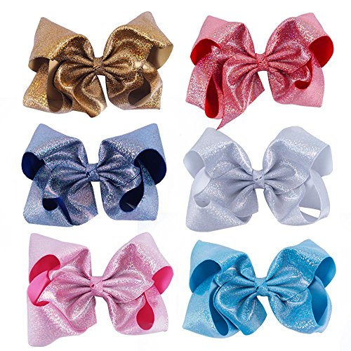 CN Bow For Girl 8 Inch Baby Girls Hair Bow Big Large Sequin Boutique Bows Alligator Clips For Teens Babies Toddlers Children Newborn Infant Kids Teens Pack of 6