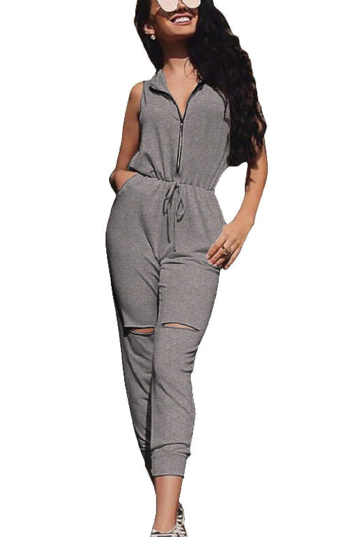 Vemubapis Women Zip up Hoody Hoodie Cutout Jumpsuit Rompers Playsuit