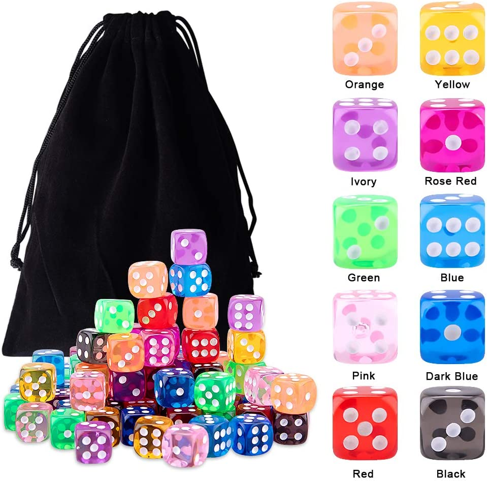 Farkle Yahtzee Bunco or Teaching Math Free Pouch AUSTOR 100 Pieces 6 Sided Game Dice 12mm Round Corner Dices Set for Tenzi