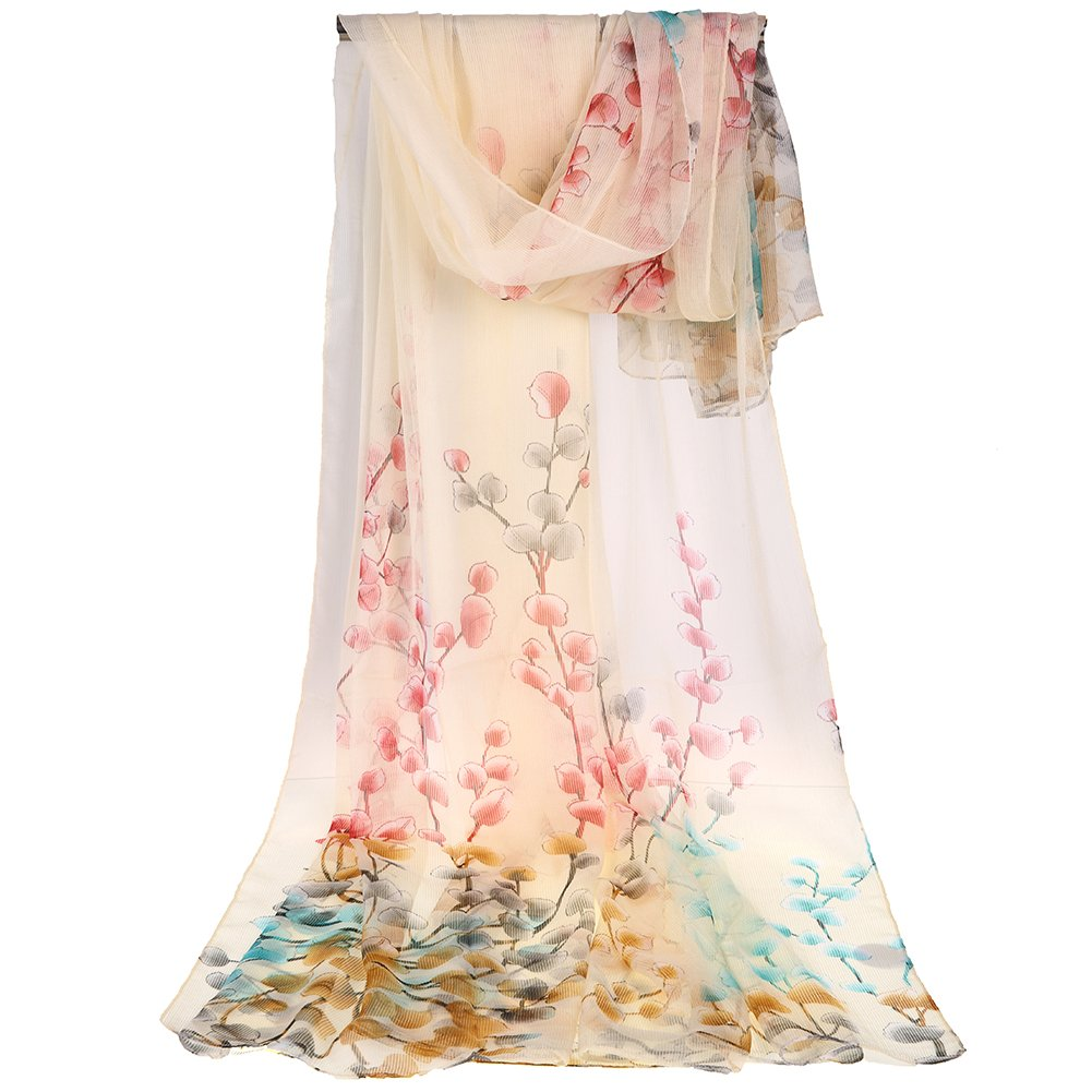 Floral Scarves lightweight Women Scarf Hair Evening Dresses Party Shawl Wrap