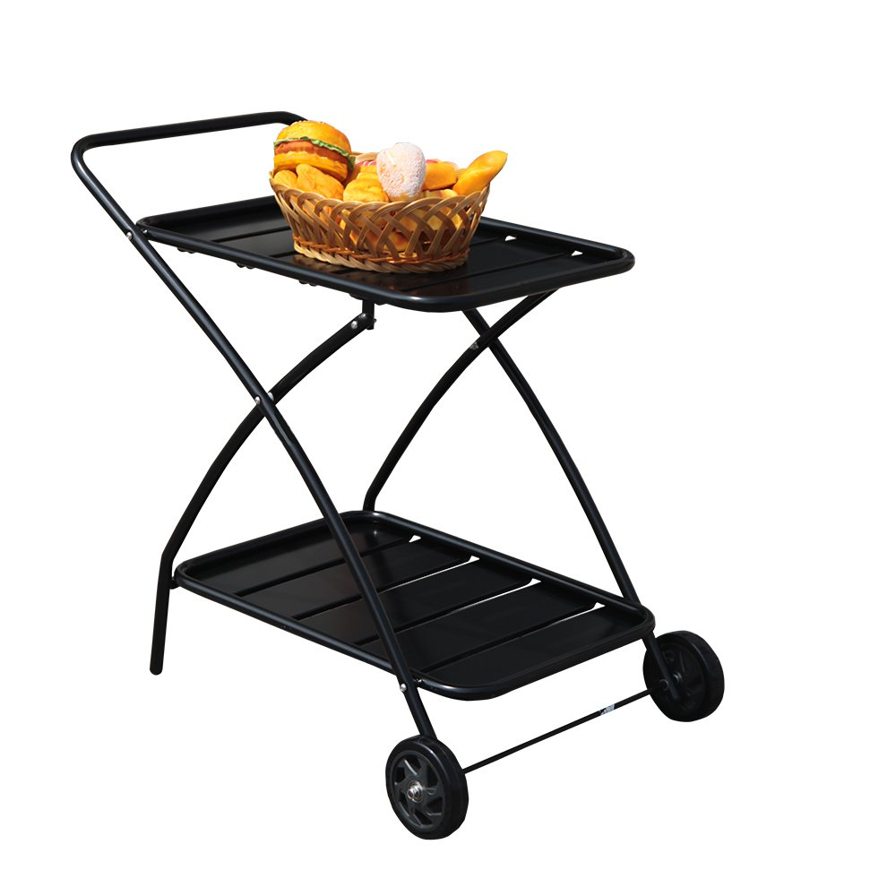 COBANA Indoor or Outdoor Metal 2 Shelf Rolling Service Utility Cart, Kitchen Bar Cart, Black