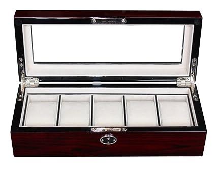 654a40c28 Amazon.com: Elegant 5 Piece Lacquer Cherry Wood Rosewood Watch Box ...