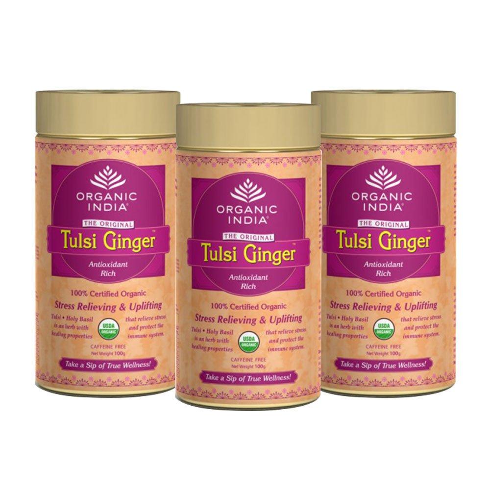 Organic India Tulsi Ginger - 100g Tin (Set of 3)