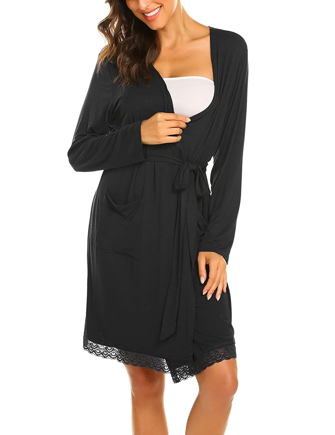 MAXMODA Womens Robe Maternity Sleepwear Pregnancy Nightgown Nursing Soft Kimono Bathrobes