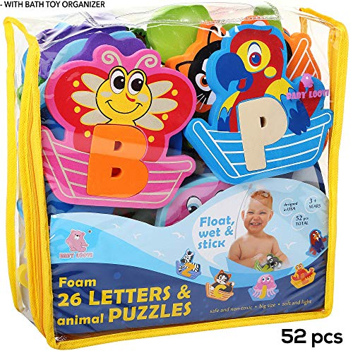 Foam Bath Toys - Bathtub Toy for Kids - Foam Letters Alphabet Puzzles for Boys Girls - Bath Toy Organizer - Educational Bath Toys - Baby Bath Toy Letters - ()