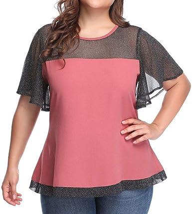 Camisetas Fiesta Mujer, Verano Tallas Grandes Tops de Encaje Costura de Manga Corta Camiseta Suelto Moda Mujer Casual Tops de Perspectiva O-Cuello Blusa Camiseta Blusas Tops Camisetas Verano Playa: Amazon.es: Ropa y