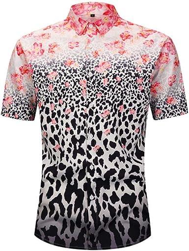 Camisa de los Hombres Manga Corta Estampado Floral 3D Camisa ...
