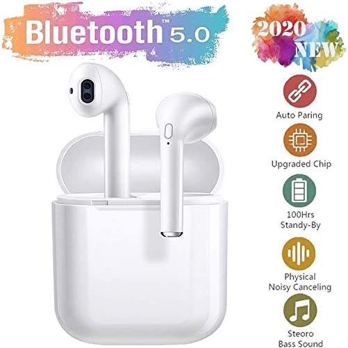 Bluetooth5.0 Headset, Wireless Earbuds, 3D Stereo Bluetooth Headphones, IPX7 Waterproof Sports Headphones, Mini 24-Hour Charging case, Pop-ups Auto Pairing, Binaural HD Call Microphone – White