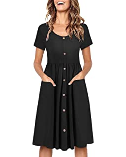aad47017adc OUGES Women s Long Sleeve V Neck Button Down Skater Dress with Pockets