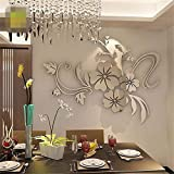 Indexp 3D Removable Mirror Floral Wall Sticker Vinyl Art Home Room Decors Decals(40x60cm) (Silver)