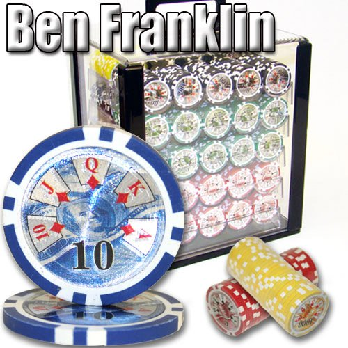 Brybelly 1,000 Ct Ben Franklin Poker Set - 14g Clay Composite Chips with Acrylic Display Case for Casino Games by Brybelly