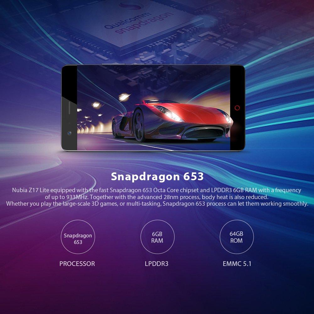 "ZTE Nubia Z17 Lite Octa-Core 4G Smartphone libre de 5.5"" [1920*1080] / Snapdragon 653 1.9 GHz, 6GB de RAM, 64GB de ROM, Cmara dual de 13 MP + 13MP, ..."