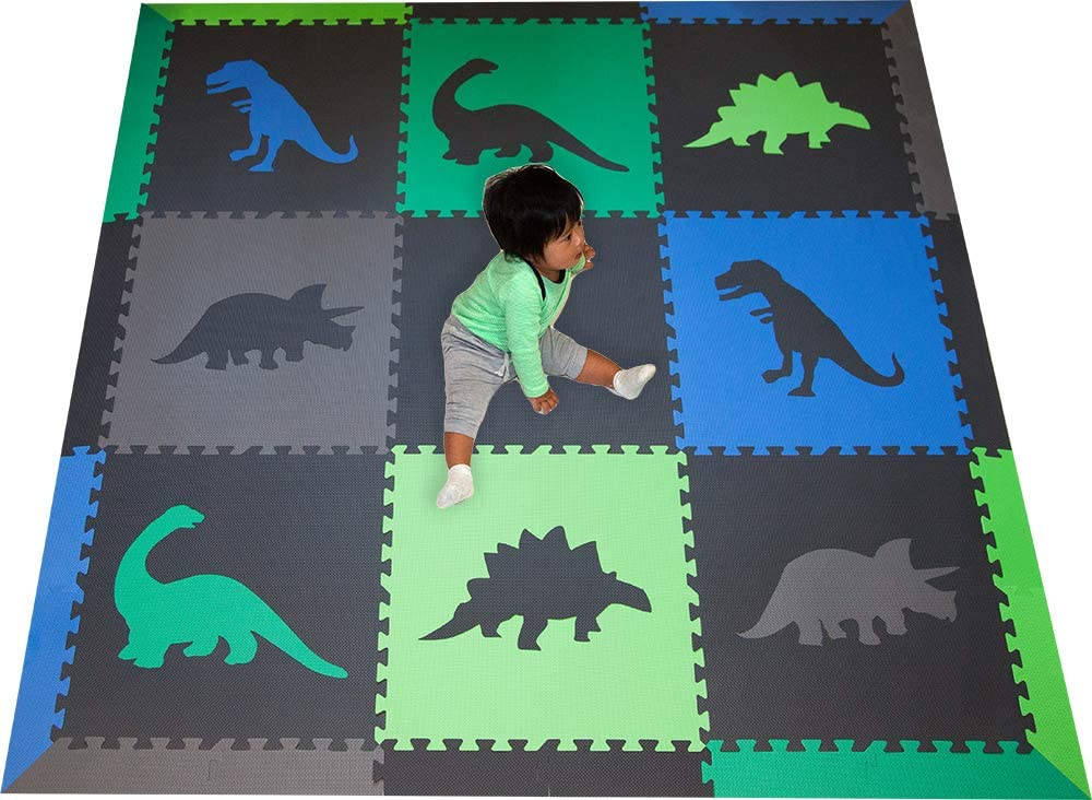 SoftTiles Children s Foam Playmat – Jurassic Dinosaur Theme – Nontoxic Interlocking Floor Tiles for Toddler Playrooms Baby Nursery – Size 6.5 x 6.5 ft.- Black, Blue, Green, Lime, and Gray SCDBGLG