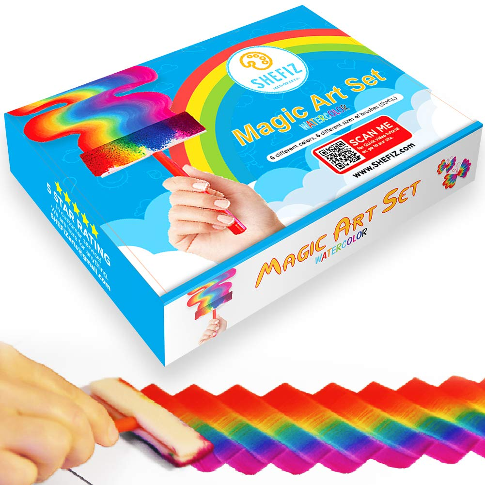 Watercolor Rainbow Magic Art Set for Girls and Boys Ages 7-12 - Kids Art Kit with 6 Sponge Brushes by SHEFIZ