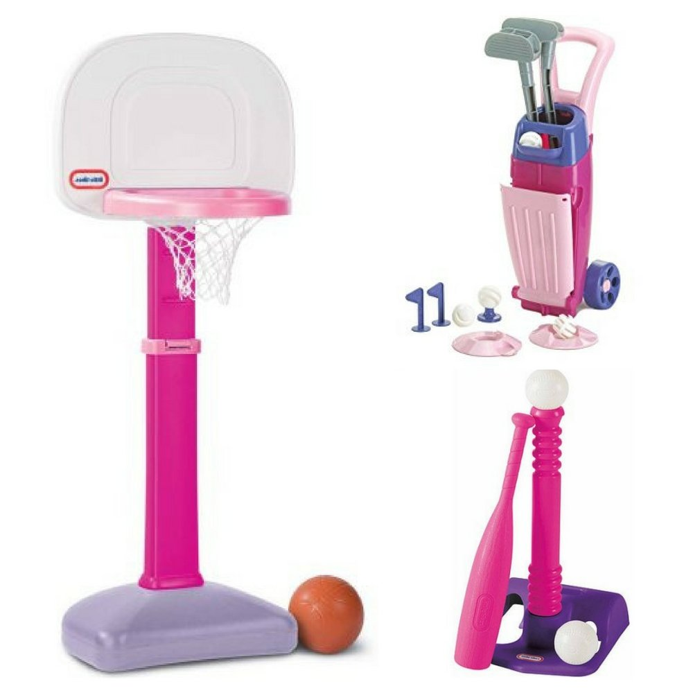 Kids 18M+ TotSports Pink Easy Score Basketball, Junior Pro Girl's Golf Set & T-Ball Color Refresh, Little Tikes, Toddler, Outdoor Sports & Games, Social, Competitive Play, Coordination, Motor Skills