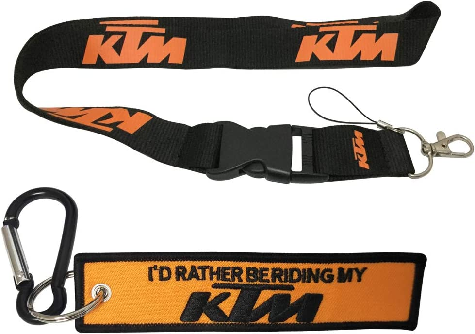 1pc Wristlet Keychain Key Ring Embroidered Logo Motorcycle Superbike Motorrad Motorsport Scooter Car SUV Truck House Keys Chain Office ID Biker Accessories Works with KTM Ewein 1pc Lanyard