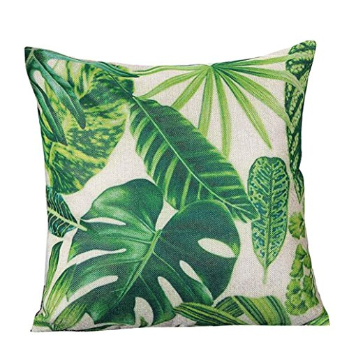 Gotd Christmas Decorative Cushion Pastoral Style Green Leaf Cotton Linen Pillow Throw Case Cover Pillowcase Cushion Cover for Sofa Throw Pillow Case 18
