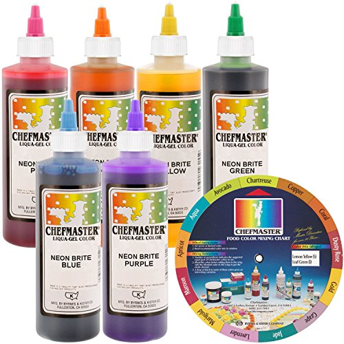 Chefmaster by US Cake Supply Liqua-Gel 10.5-Ounce Neon Cake Decorating 6 Color Kit