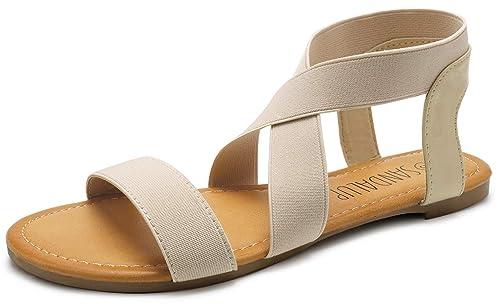 ec7aabf92 SANDALUP Elastic Ankle Strap Flat Sandals for Women Beige 05
