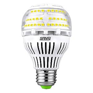 [UPGRADE] 17W (150-200 Watt Equivalent) A19 Dimmable LED Light Bulb, 2500 Lumens Bright Led Bulbs, 5000K Daylight Ceramic Light, E26 Medium Screw Base, 5-year Warranty, SANSI