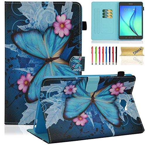Dteck Samsung Galaxy Tab A 10.1 Tablet Case, SM-T585/T580 Case, Multi Viewing Stand Smart Case Cover with Auto Sleep/Wake Function for Tab A 10.1 Inch NO S Pen Version Tablet, Pink Flower&Butterfly