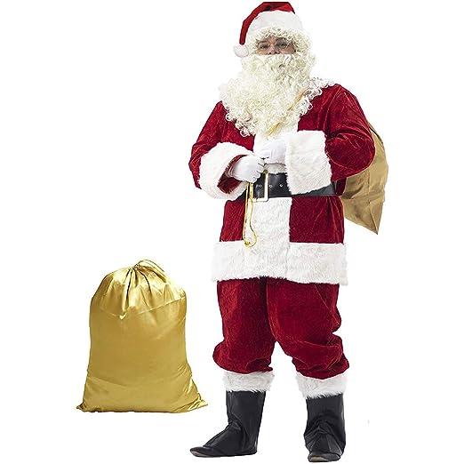 WEREIOV Disfraz De Papá Noel, 10 PCS Lujo Navidad Fiesta ...
