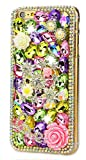 STENES iPhone 6/6S Plus (5.5'') Case, [Luxurious Series] 3D Handmade Shiny Crystal Sparkle Bling Case with Retro Bowknot Anti Dust Plug - Crystal Stars Rose Flowers Love/Green
