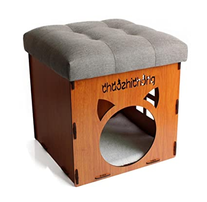 Grano de madera Inicio Tomar un taburete Casa de gatos y ...