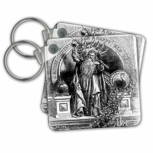 Scenes from the Past Ephemera - Father Time Toasts to a Merry Christmas and a Happy New Year Vintage - Key Chains - set of 4 Key Chains - Vintage Images Happy Year New