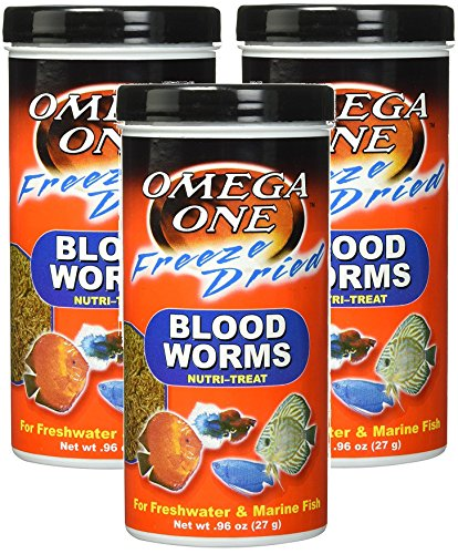 Bloodworms Fish Food ((3 Pack) Omega One Freeze Dried Blood Worms 0.96oz)