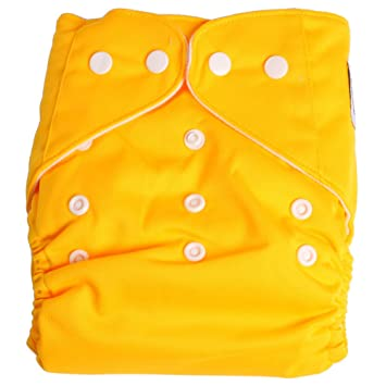 Adjustable Reusable Washable One Size Baby Cloth Diaper Diapers Nappy 1 Diaper + 2 Inserts Yellow