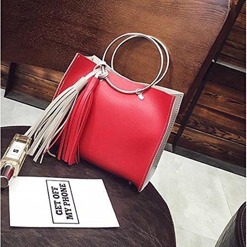 Brown Bag Dark Women's Gray PU Red Buttons GMYAN Zipper Green Dark Bags Shoulder dIP8zq