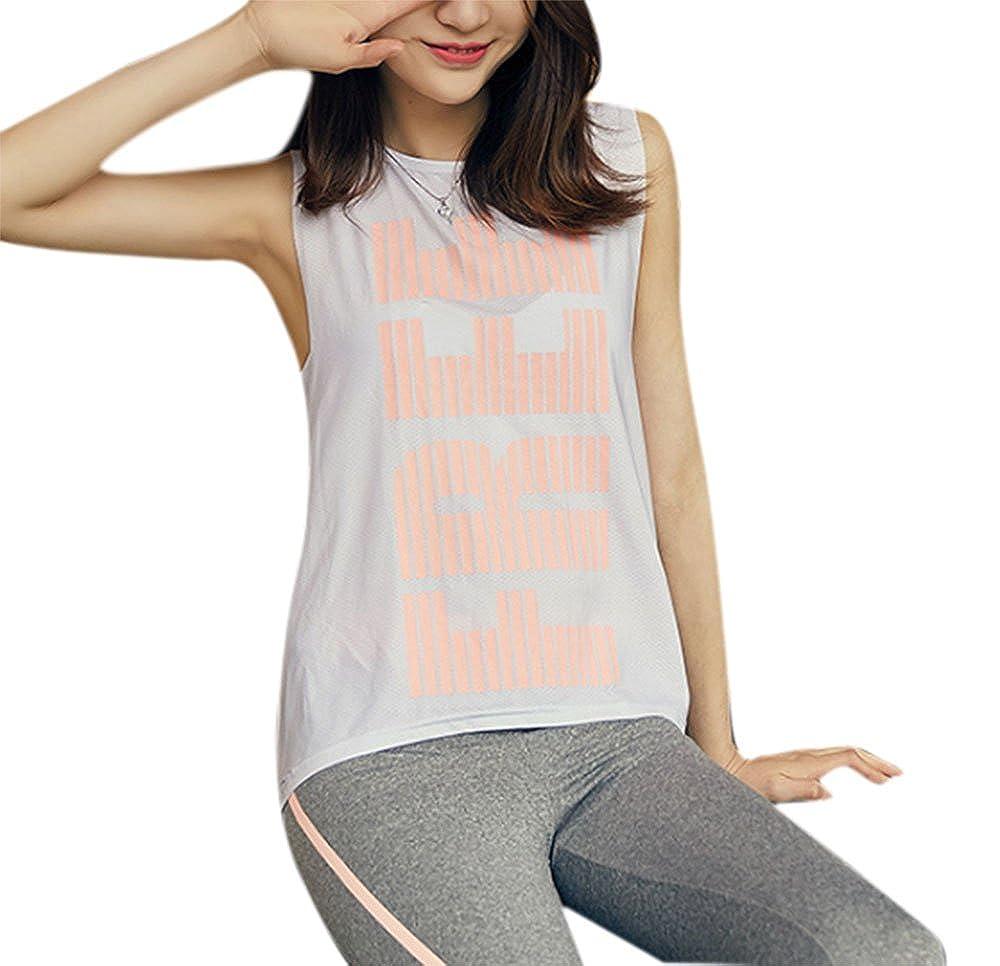 Keephen Female Yoga Weste T-Shirt, Fitness Laufbekleidung Atmungsaktiv Sexy Mesh Sport Druck Weste