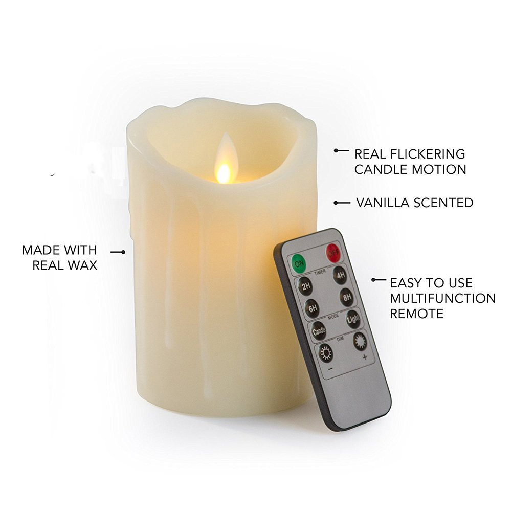 Bello Luna 2Pcs 3.94in LED Flameless Candles Tear Wave Shaped Rechargeable and Environmental Flickering Candle with Remote Control