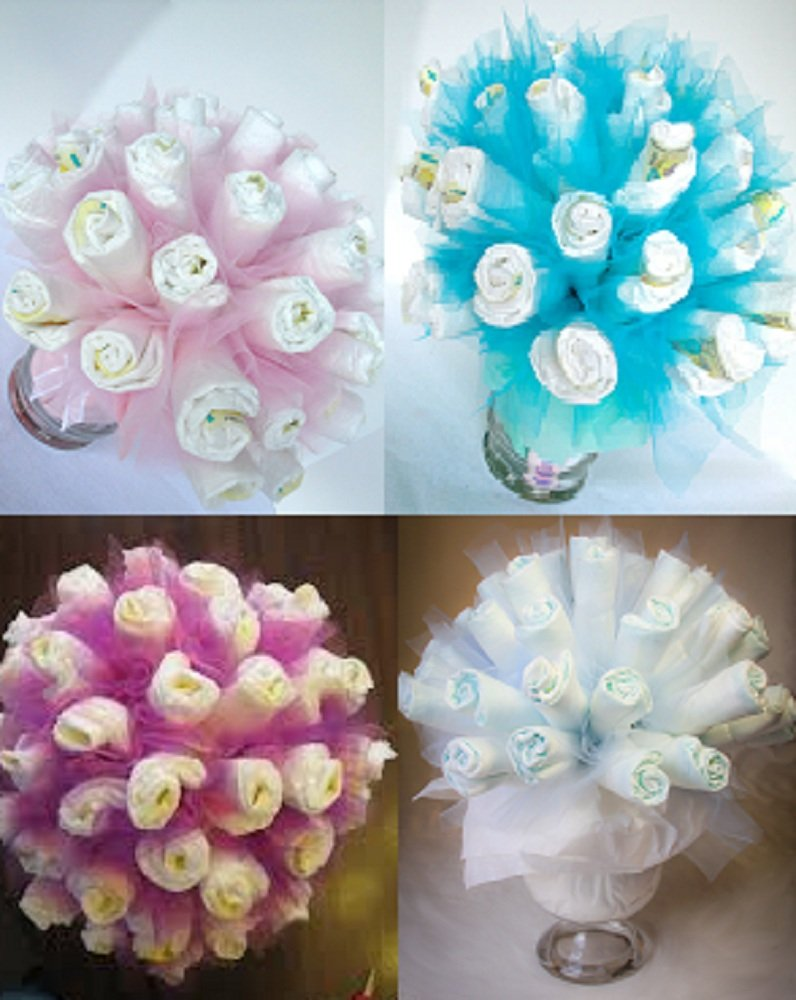 Amazon.com : Diaper Bouquet - Any Color Available / Baby Shower Gift ...