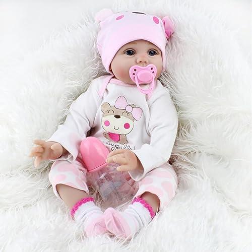 Nicery Renacer Bebé la Muñeca Vinilo Simulación Silicona Suave 22 pulgadas 55cm Boca Magnética Natural Niña Niño Juguete Pink Bear Lucy