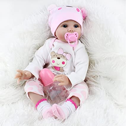NPKDOLLS Reborn Baby Dolls 22 inches Soft Simulation Silicone Vinyl Vivid Boy Girl Toy Pink Bear Lucy