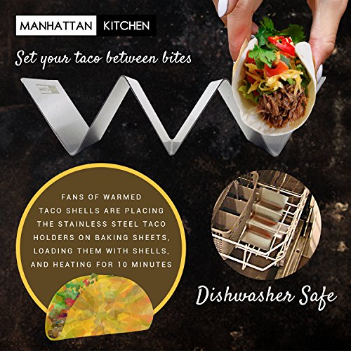 Taco Holder Stand (2 Platter Set) w/Serving Spoon - Fun Street Style Stainless Steel Metal Server Tray & Tortilla Warming Kit + Utensil for Soft & Hard Shell Prep Accessories by Manhattan Kitchen by Midelo (Image #6)