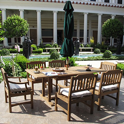 Clayton Premium Grade Teak Dining Furniture 7PC Set Sunbrella (Frontgate Dining Arm Chair Cushion)