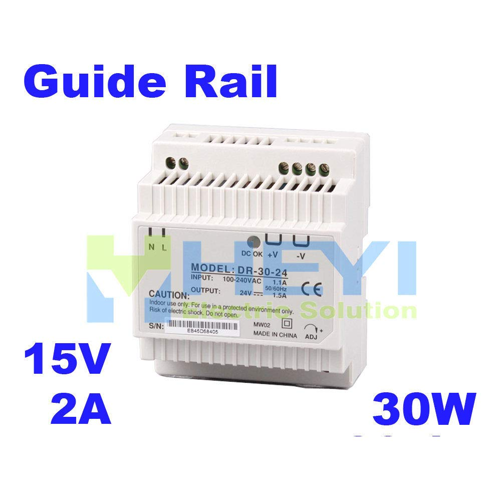 iProTool Din Rail Power Supply with Single Switching Output DR-30-15 Input 110 220VAC Output 15V 2A Mini Power Supply