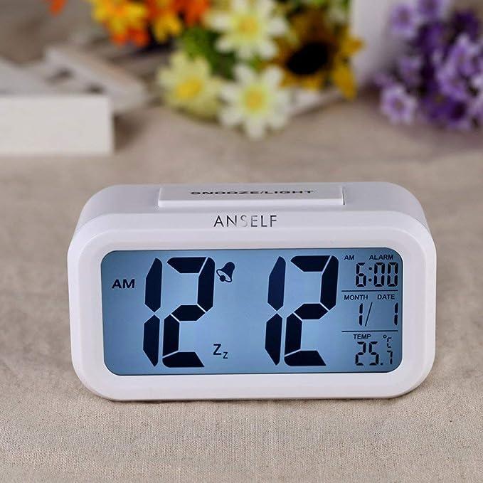 244b6208b9e0 Anself LED Digital Alarma despertador Reloj Repeticion activada por luz  Snooze Sensor de luz Tiempo Fecha Temperatura (Blanco puro)